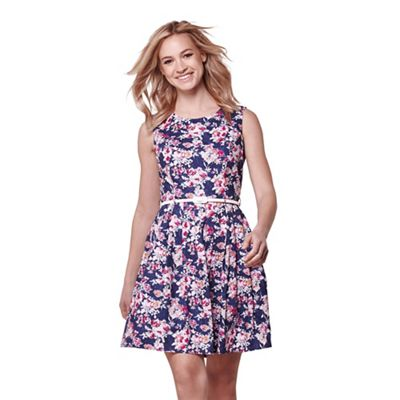 Navy floral print belted sleeveless dress