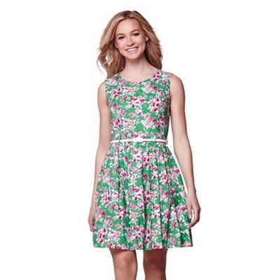 Green floral print belted sleeveless dress