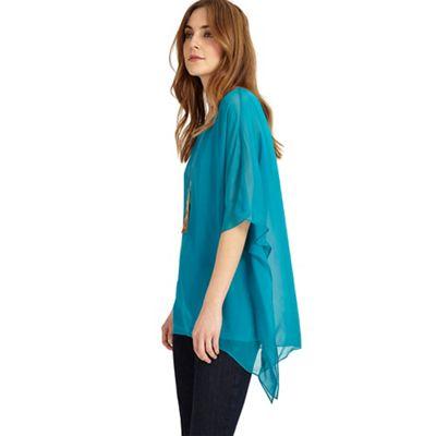 Turquoise Maggie asymmetric silk blouse