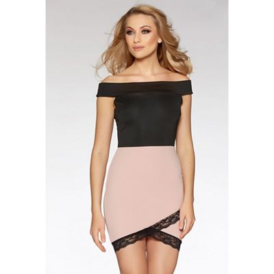 Black and pink lace trim bardot bodycon dress