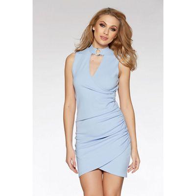 Light blue ruched choker detail bodycon dress