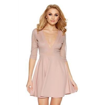 Nude mesh low neck skater dress