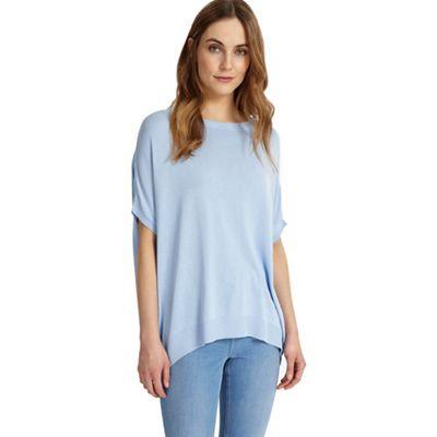 Soft blue Kirstie ellipse hem knitted top