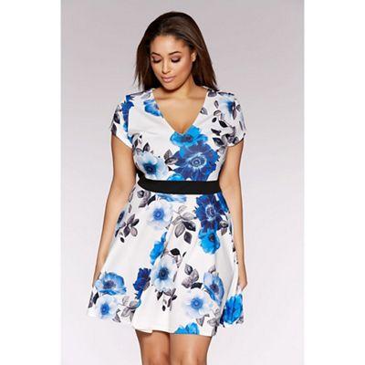 Cream and blue curve flower print panelled skater dress