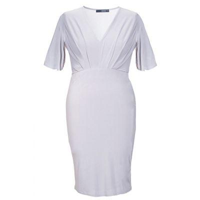 Curve grey pleated v neck midi dress