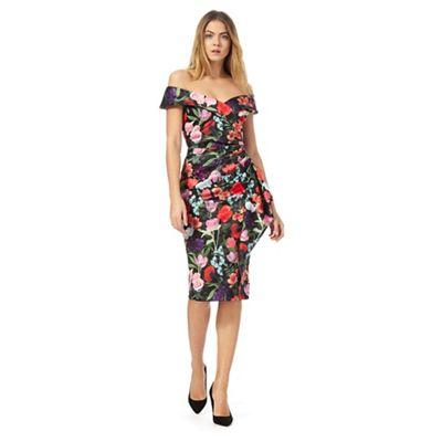 Multi-coloured floral print off-shoulder dress