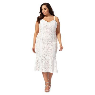 Ivory 'Edina' lace fluted hem plus size dress