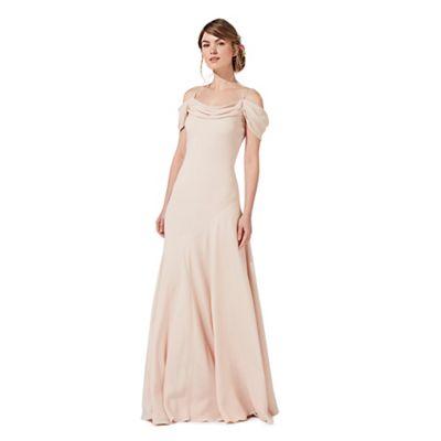 Pink 'Felicity' cold shoulder evening dress