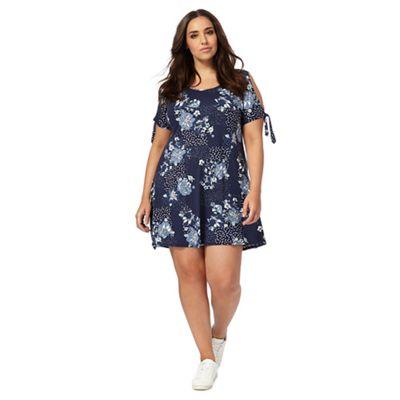 Blue floral print open shoulder plus size swing dress