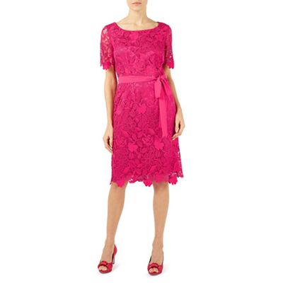 Pright pink flower lace shift dress