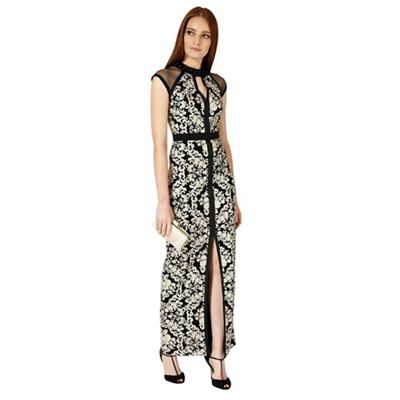 Black and oyster Elodie embroidered dress