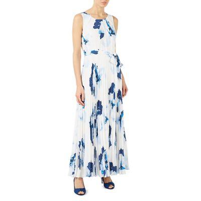 Print plise maxi dress