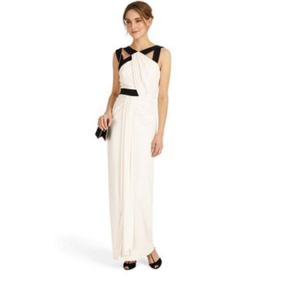 Black and mauve chalk felicity drape maxi dress