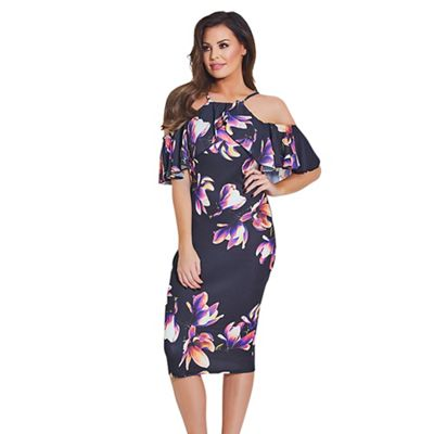 Multicoloured 'Bryony' floral cold shoulder bodycon dress