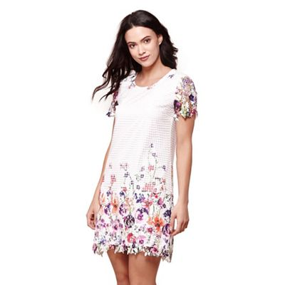 Ivory embroidered floral tunic dress