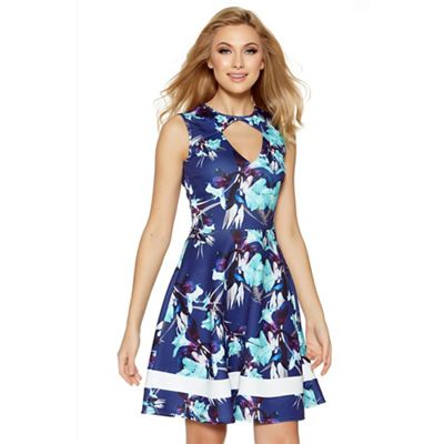 Navy and cream floral print keyhole skater dress