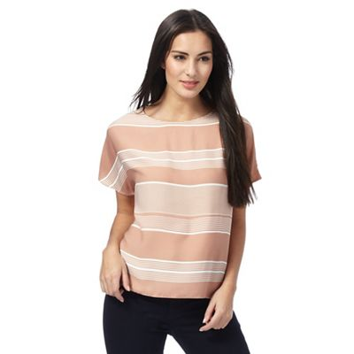Pink striped boat neck top