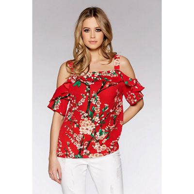 Red flower print strappy top
