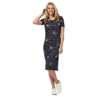 Navy striped floral print midi dress