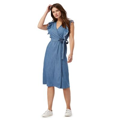 Blue wrap denim dress