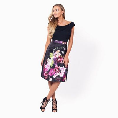 Floral 'Amia' floral prom dress with black jersey bardot top