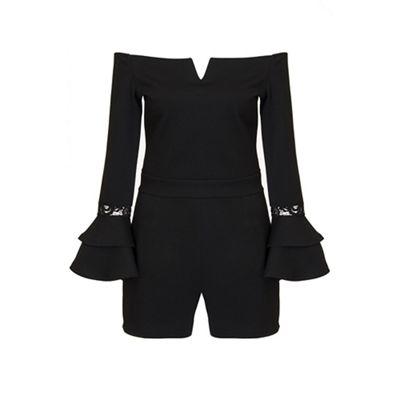 Black bardot frill lace sleeves playsuit
