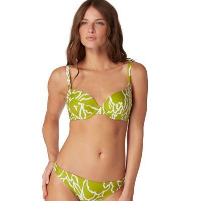 Dark yellow floral print bikini top