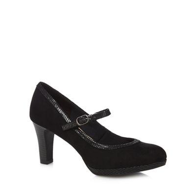 Black suedette 'gemma' high heel wide fit mary janes