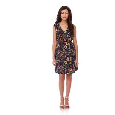 Yumi Blue 70s Floral Print Tie Neck Dress