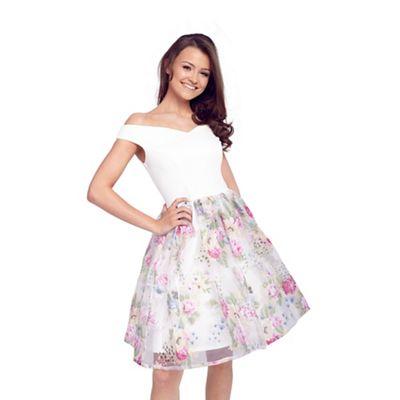 Lipstick Boutique Floral 'Violetta' organza bardot prom dress