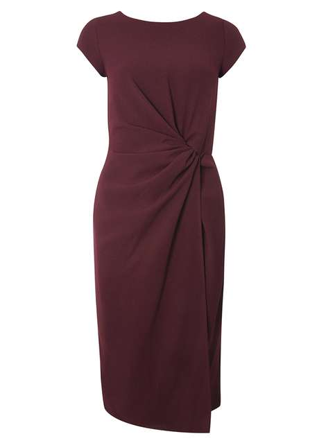 **Luxe Merlot Ruched Crepe Dress