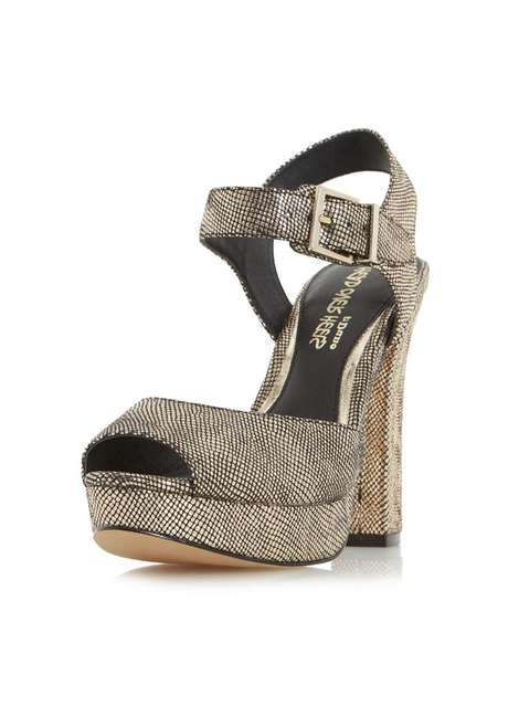 **Head Over Heels 'Myli' Gold High Heel Sandals