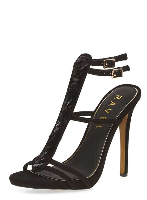 **Ravel Black Heeled Sandals