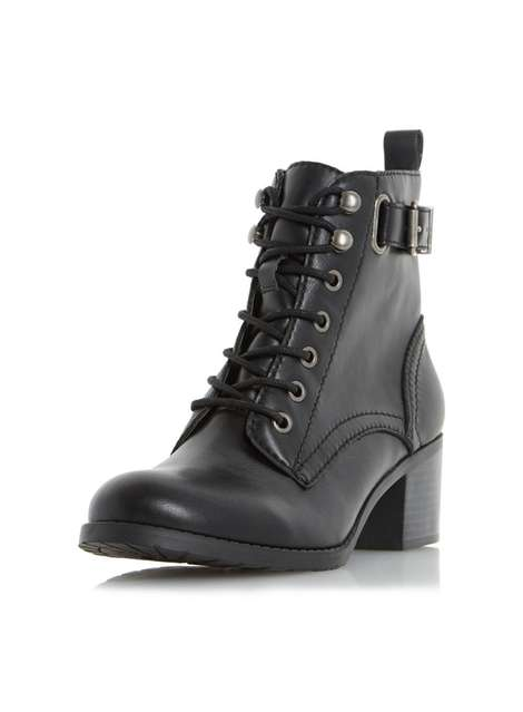 **Head Over Heels Dune Priya Black Ankle Boots