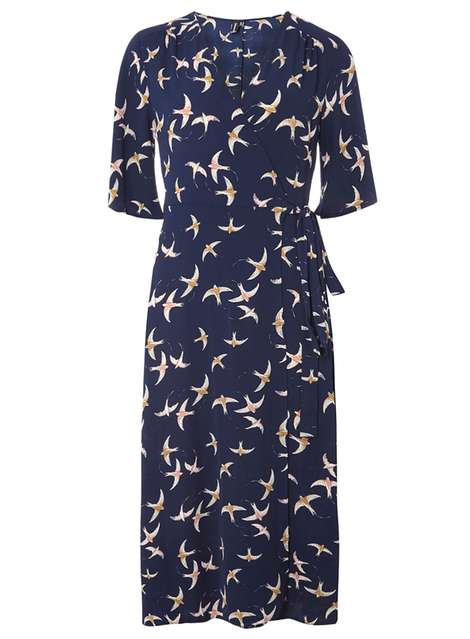 **Izabel London Navy Vintage Wrap Dress