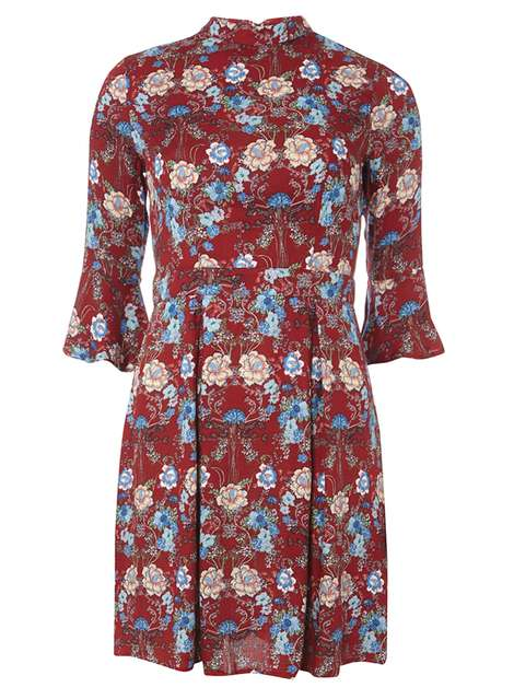 **Izabel London Burgundy Floral Dress