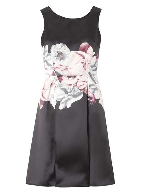 **Luxe Black Floral Prom Dress