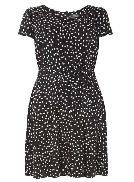 **Billie & Blossom Curve Black Spotted Dress