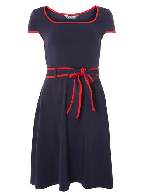 **Tall navy dress with tipping