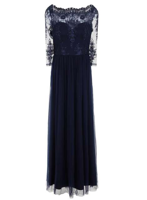 **Chi Chi London Blue Embroidered Maxi Dress