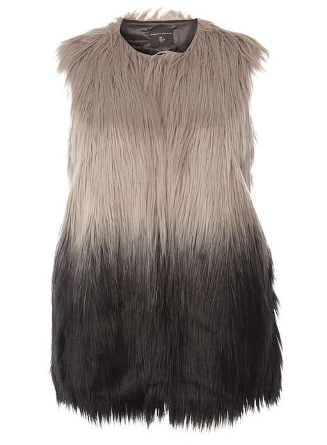 c893e4eb7a3   DP Curve Black And Grey Faux Fur Gilet