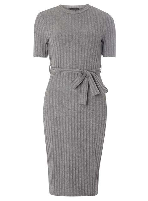 **Tall Grey Belted Rib Bodycon Dress