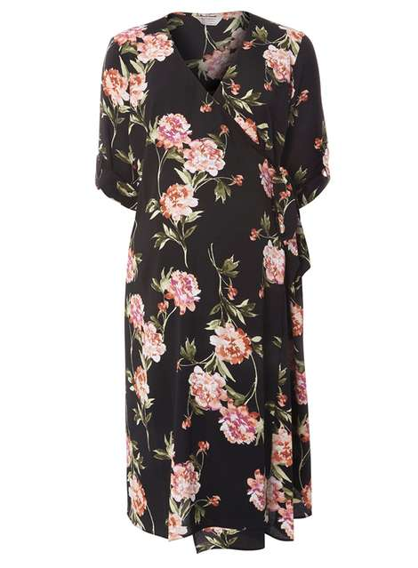 f4e9b604acb4e **Maternity Black Floral Belted Dress