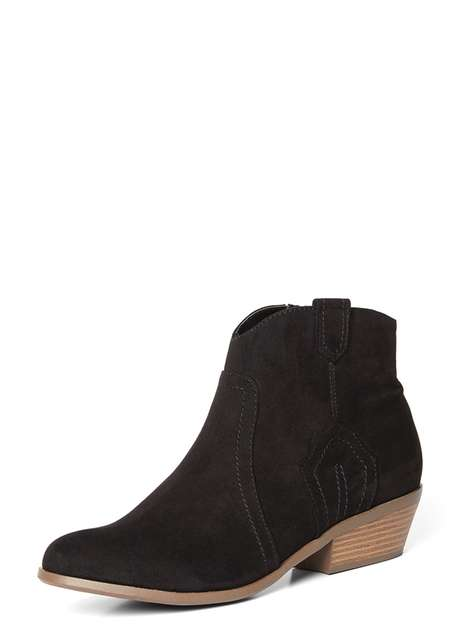 'Madds' Black Western Ankle Boots