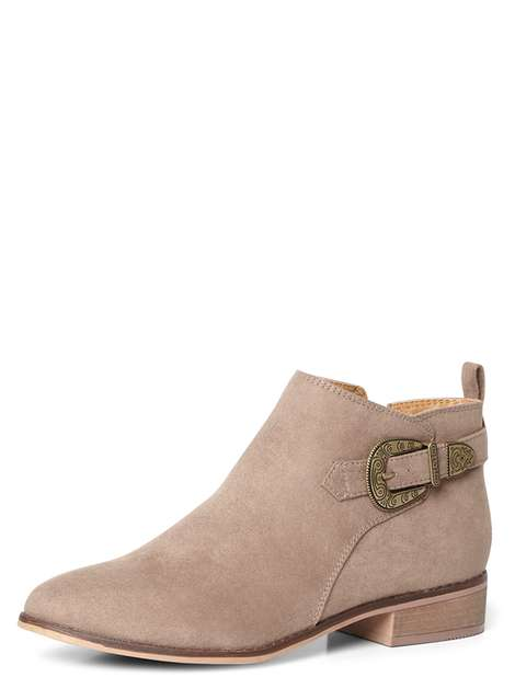 'Mary' Taupe Western Ankle Boots