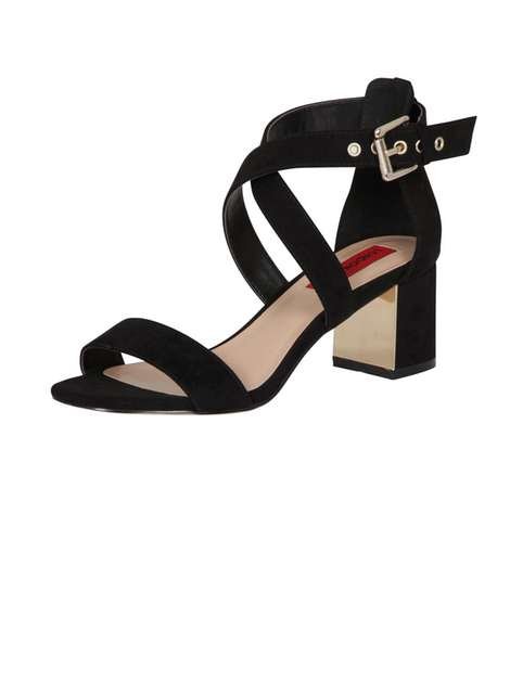 **London Rebel Block Heel Strap Sandals