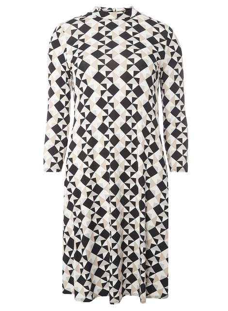 **Tall Black and Stone Geometric Print Swing Dress