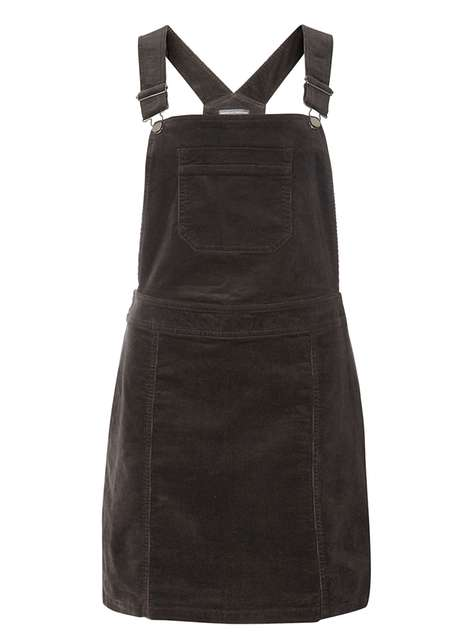 **Tall Charcoal Cord Dungaree Pinny Dress
