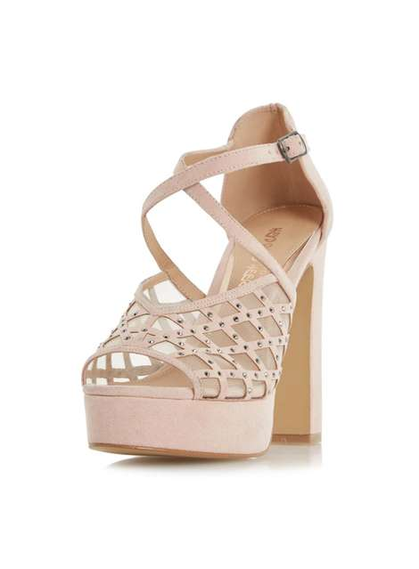 **Head Over Heels by Dune 'Mystique' Nude High Heeled Sandals