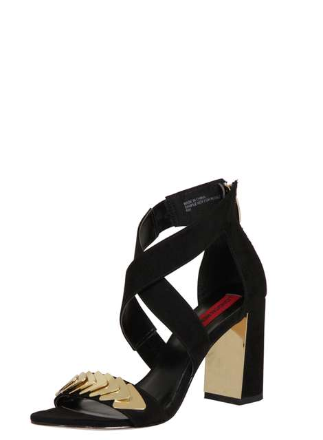 **London Rebel Suede effect block heel sandals